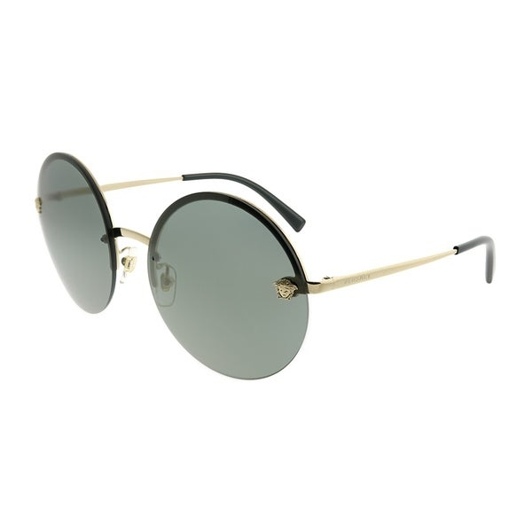 7ffc70daae09 Versace Round VE 2176 12524T Unisex Pale Gold Frame Silver Mirror Lens  Sunglasses