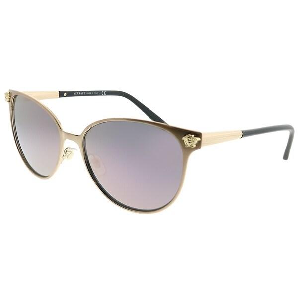 c96ca7e84d359 Versace Round VE 2168 14095R Women Pink Gold Frame Dark Pink Mirror Lens  Sunglasses