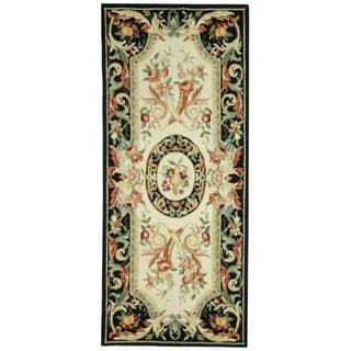 Safavieh Hand-hooked Chelsea Crysta Country Oriental Wool Rug (26 x 6 Runner - Black)
