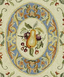 Safavieh Hand-hooked Fruit Harvest Blue Wool Rug (3'9 x 5'9)