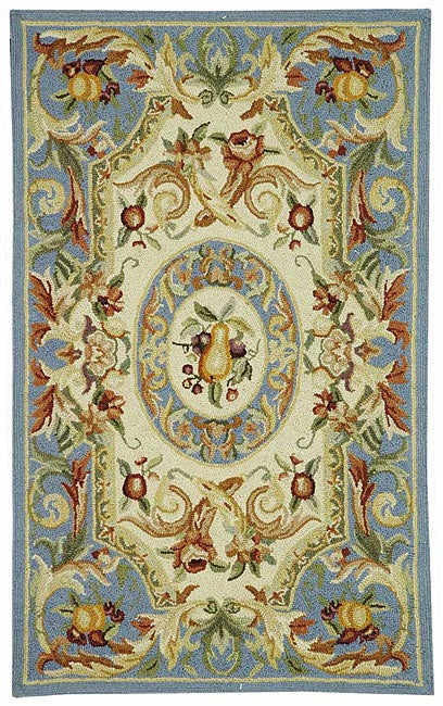 Safavieh Hand-hooked Fruit Harvest Blue Wool Rug (5'3 x 8'3)