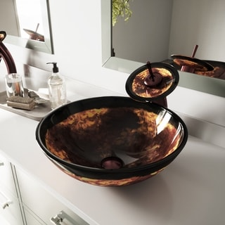 VIGO Auburn/ Mocha Fusion Glass Vessel Bathroom Sink