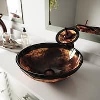 VIGO Auburn and Mocha Fusion Glass Vessel Bathroom Sink