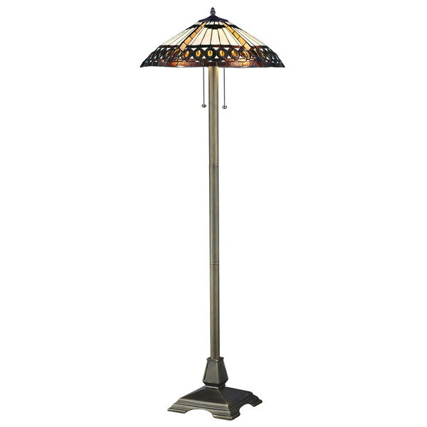 Amberjack tiffany style floor lamp free shipping today for Overstock tiffany floor lamp