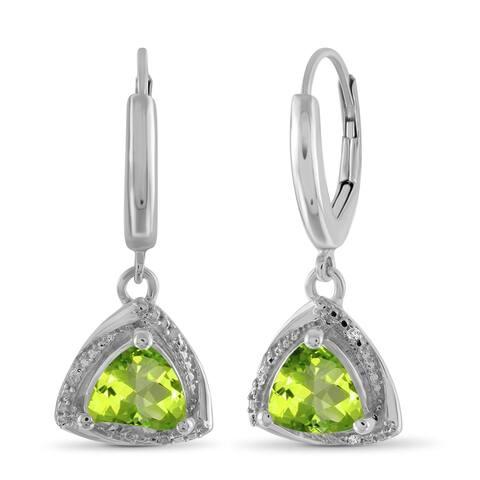 JewelonFire 2.90 Carat Genuine Peridot & Accent White Diamond Sterling Silver Leverback Earrings