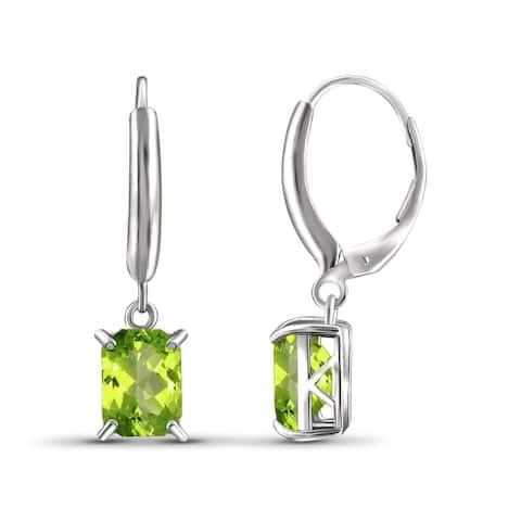 JewelonFire 3.20 Carat Genuine Peridot Sterling Silver Leverback Earrings