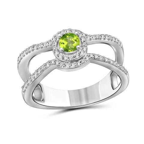 JewelonFire 0.20 Carat Genuine Peridot & 1/20 Ctw White Diamond Sterling Silver Ring