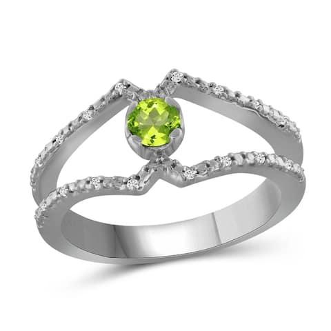 JewelonFire 0.20 Carat Genuine Peridot & 1/20 Ctw White Diamond Sterling Silver Open Ring