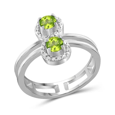 JewelonFire 0.45 Carat Genuine Peridot & 1/20 Ctw White Diamond Sterling Silver Open Ring