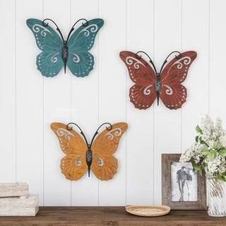 Butterfly Metal Wall Art 3 Piece Set- Hand Painted Decorative 3D Nature Butterflies for Modern Farmhouse by Lavish Home