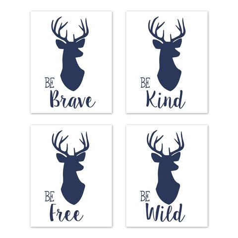 Sweet Jojo Designs Navy Blue White Stag Woodland Deer Collection Wall Decor Art Prints (Set of 4) - Brave Kind Wild Free
