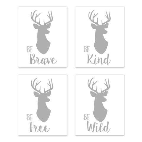 Sweet Jojo Designs Grey and White Stag Woodland Deer Collection Wall Decor Art Prints (Set of 4) - Brave Kind Wild Free