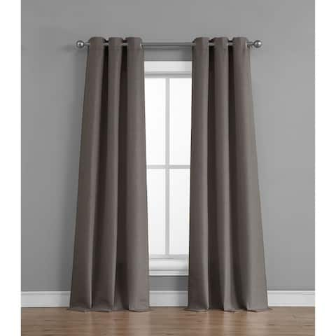 Raw Faux Silk Grommet 76 in. x 84 in. Curtain Panel Pair