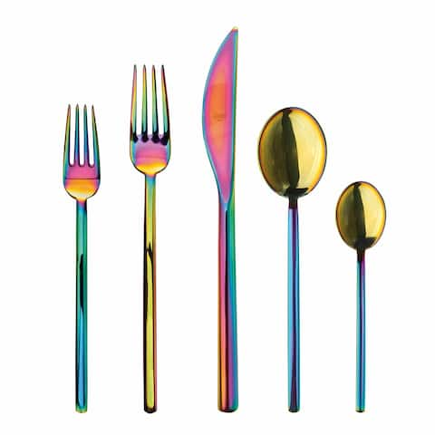 Mepra 20-piece Stainless Steel Due Rainbow Flatware Set (Service for 4)