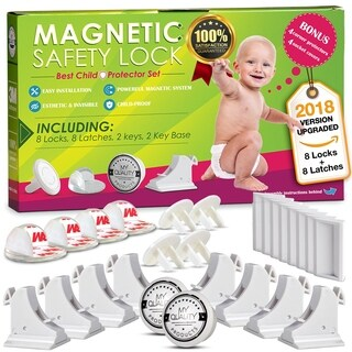 Invisible Baby Safety Kit - 8 Cabinet/Drawer Magnetic Locks, 3M Adhesive
