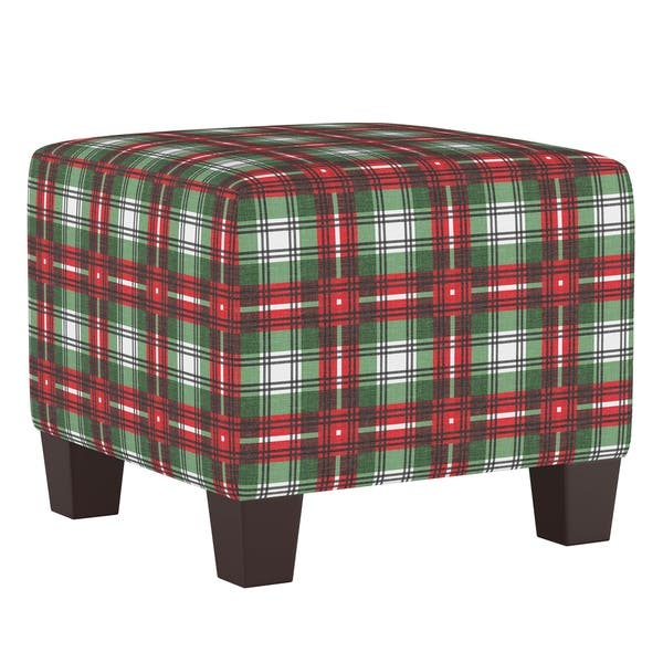 Stupendous Shop Skyline Furniture Square Ottoman In Nicolas Plaid Green Beatyapartments Chair Design Images Beatyapartmentscom