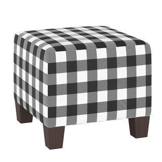 Skyline Furniture Square Ottoman in Classic Gingham Black