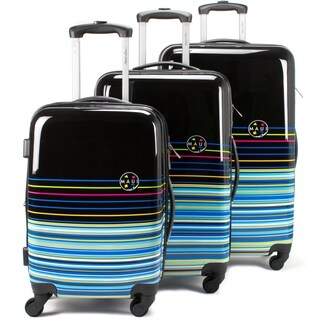 Maui and Sons Stripes 3-piece Expandable Hardside Spinner Luggage Set, TSA Lock