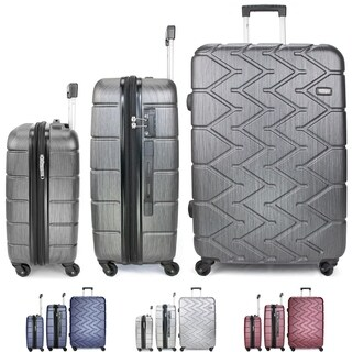 Miami CarryOn Rugged 3-Piece Expandable Spinner Luggage Set, 100% PC