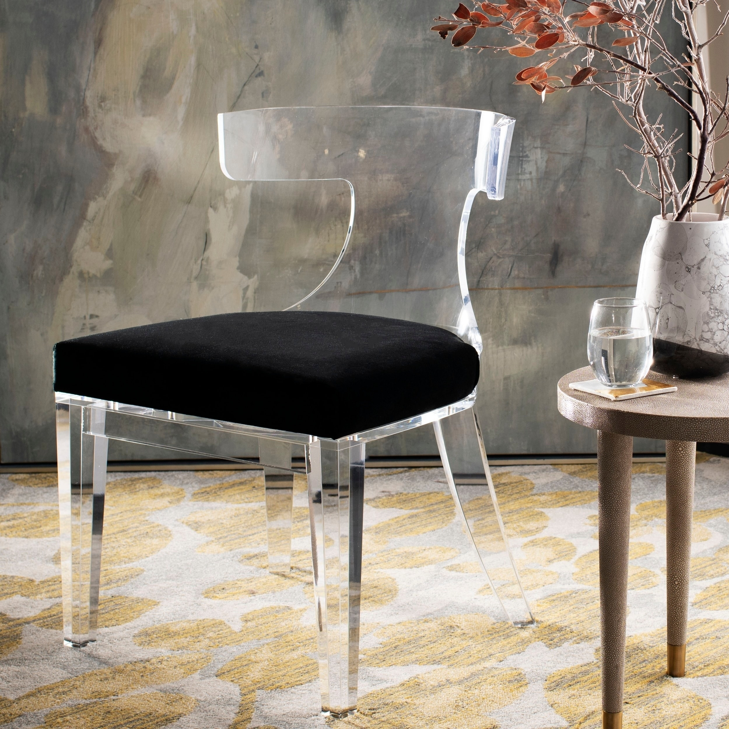 Details About Safavieh Couture Rhys Lucite Dining Chair Clear Black 18 5 In W X 21