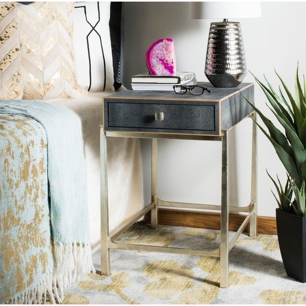 Safavieh Couture Cleo 1 Drawer Nightstand- Black - 26.38 In W x 17.72 In D x 25 In H