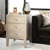 Safavieh Couture Delana Faux Shagreen Nightstand- Beige - 18 in w x 18 in d x 28 in h