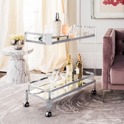 Safavieh Couture Gianna Glass Bar Trolley - Clear - 32 In W x 17 In D x 31.5 In H