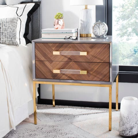 Safavieh Couture Sanford Walnut 2-Drawer Side Table- Charcoal / Gold - 24 In W x 20 In D x 26 In H