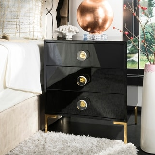 Safavieh Couture Lucian 3-Drawer Side Table- Black / Brass - 24 in w x 18 in d x 28 in h