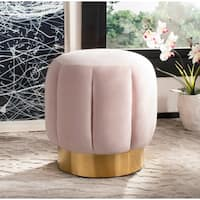 Safavieh Couture Maxine Channel Tufted Otttoman- Pink / Gold