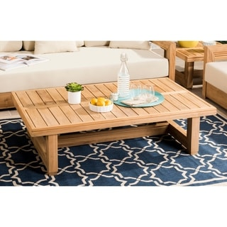 Safavieh Couture Outdoor Montford Teak Commercial Grade Coffee Table