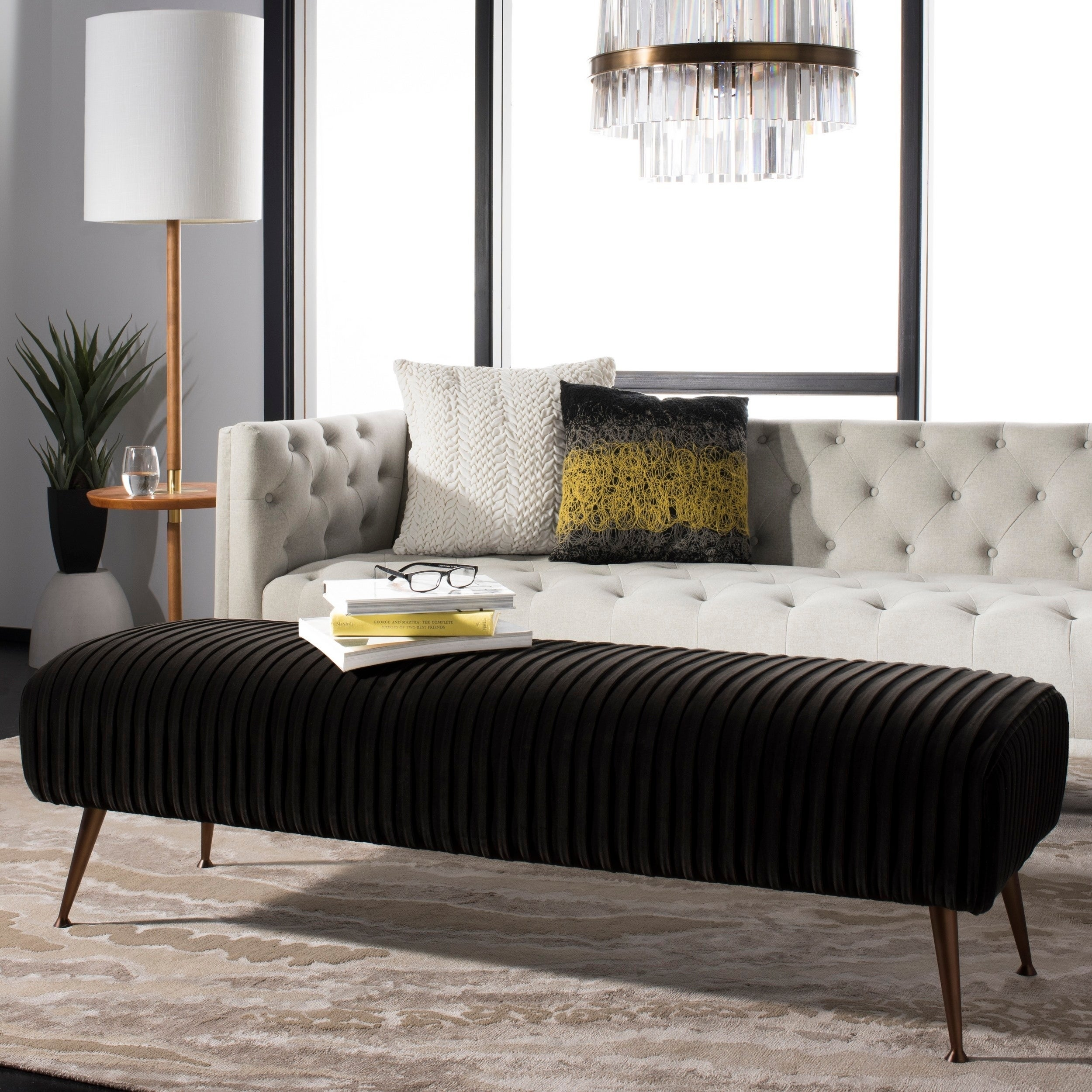 Picture of: Safavieh Couture Salome Dark Grey Velvet Antique Brass Commercial Grade Bench On Sale Overstock 22964060