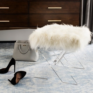 Safavieh Couture Keely Sheepskin X-Bench- Clear / White