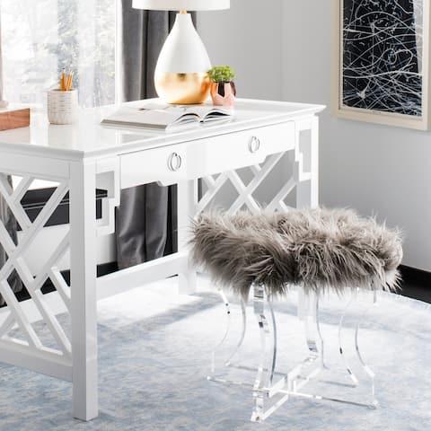 SAFAVIEH Couture Delcie Sheepskin Ottoman- Clear / Grey