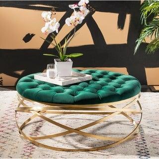 Safavieh Couture Rumi Tufted Velvet Ottoman- Emerald / Gold