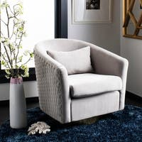 Safavieh Couture Clara Quilted Swivel Tub Chair- Pale Taupe / Gold - 29.92 in w x 31.69 in d x 29.72 in h