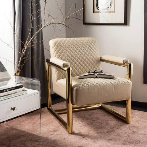 "Safavieh Couture Merlene Leather Arm Chair- Creme / Gold - 26.4""x31.5""x32"""