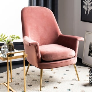 Safavieh Couture Aimee Velvet Arm Chair- Dusty Rose / Gold - 33.46 in w x 31.69 in d x 40.94 in h