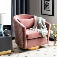 Safavieh Couture Clara Quilted Swivel Tub Chair- Dusty Rose / Gold - 29.92 in w x 31.69 in d x 29.72 in h