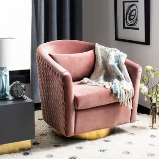 Safavieh Couture Clara Quilted Swivel Tub Chair Dusty Rose Gold 29 92 In W X