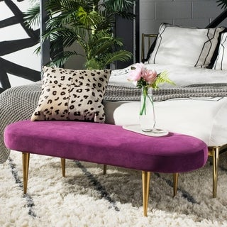 Safavieh Couture Corinne Velvet Oval Bench- Plum / Gold - 48.43 In W x 18.31 In D x 15.75 In H