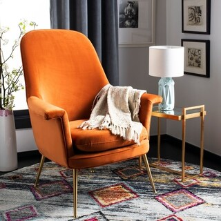 Safavieh Couture Aimee Velvet Arm Chair- Sienna / Gold - 33.46 in w x 31.69 in d x 40.94 in h