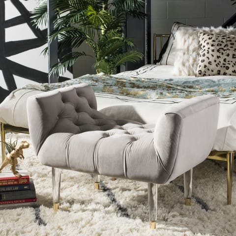 Safavieh Couture Eugenie Tufted Velvet Acrylic Bench- Pale Taupe / Gold - 34.84 In W x 21.26 In D x 24.41 In H