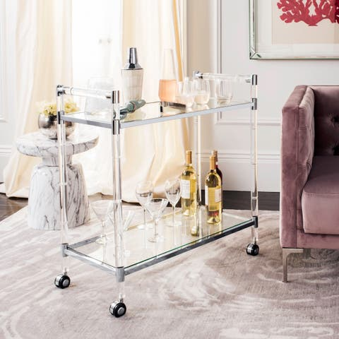 Safavieh Couture Duval Acrylic Bar Trolley - Silver - 31.5 In W x 15.75 In D x 32.29 In H