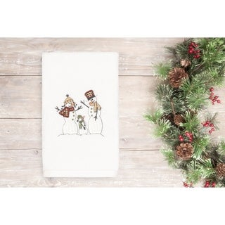 Authentic Hotel and Spa Turkish Cotton Snowmen White Hand Towel