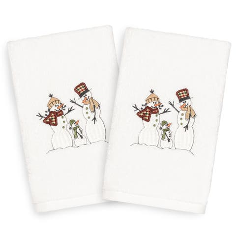 Authentic Hotel and Spa Turkish Cotton Snowmen White Set of 2 Hand Towels