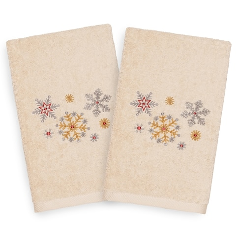 Authentic Hotel and Spa Turkish Cotton Snowflakes Beige Set of 2 Hand Towels