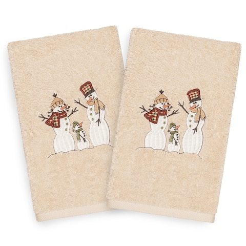Authentic Hotel and Spa Turkish Cotton Snowmen Beige Set of 2 Hand Towels