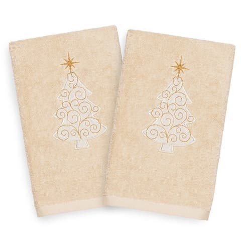 Authentic Hotel and Spa Turkish Cotton Christmas Scroll Tree Beige Set of 2 Hand Towels