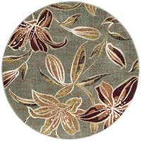 Alise Rugs Decora Transitional Floral Round Area Rug - 7'10 x 7'10